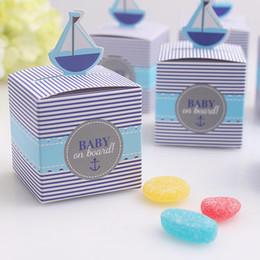 Bello disegno della scatola online-50pcs BAMBINO a bordo Candy Box Baby Shower Boy Birthday Party Chocolate Box Design unico e bello