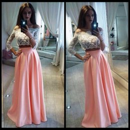 Wholesale Two Piece Evening Wear Tops - Two Pieces Prom Dresses White Lace Long Sleeve Top Satin A Line Girls Formal Evening Gowns Off Shoulder 2017 Cheap Wear Pink Skirts