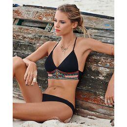 Wholesale European Style Swimsuits - MOXIAN Sexy swimwear 2016 new Women Bikini split swimsuit European and American pop style Black and white color free shipping S M L 00303