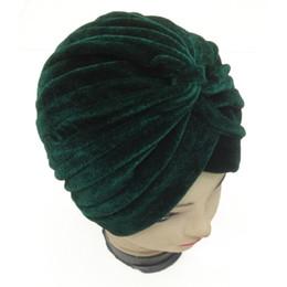 Wholesale Wholesale Hats Europe - 2017 New Europe Women Winter Fashion Black Navy Amy Green Plain Color Velvet Muslim Turban Hats Indian Bowknot Caps
