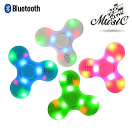Wholesale fingertips music - LED Music Hand Spinner Bluetooth Flash Finger Gyro Fingertips Spiral Decompression Spinner Toys Anti Stress Toys