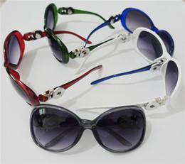Wholesale Glass Chunks - 10pcs lot Mix colors noosa chunks 18mm snap button sun glasses women fashion metal ginger snap button sunglasses eyewear