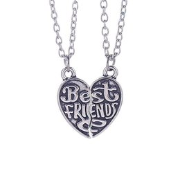 """Wholesale Personalized Couple Gifts Alloy - """"Best Friends"""" HandStamped Puzzle Necklace Broken Heart Pendant Vintage Couple Necklaces Personalized Gift for Friends 12PCS LOT"""