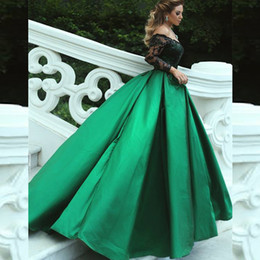 Wholesale Emerald Taffeta - 2017 Stunning Arabic Prom Dress Off the Shoulder Emerald Green Evening Gowns Black Sequined Appliques Long Sleeve Formal Dresses