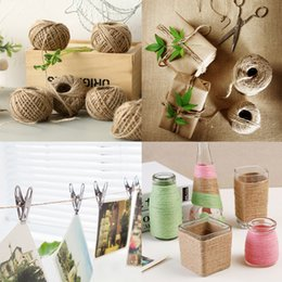 Wholesale Twine 2mm - 1 Roll 50M Natural Burlap Hessian Jute Twine Cord 2mm Rustic Wrap Gift Packing Hemp Rope String for Wedding Party Decoration