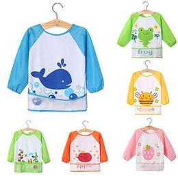 Wholesale Cute Smocks - Wholesale- Cute Baby Kids Toddler Children Waterproof Long Sleeve Feeding Bib Apron Smock