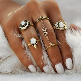 Wholesale Antique Wedding Jewelry Sets - Wholesale- IF ME Ethnic Turkish Moon Sun Finger Rings Set Natural Opal Stone Link Chains Midi Rings Jewelry For Women Antique Gold Color