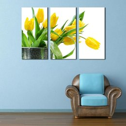 Wholesale Yellow Oil Paint Canvas - 3 Picture Combination Wall Art Green Spring Flowers Yellow Tulip Painting On Canvas Flower The Picture For Home Modern Decor