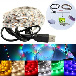 Wholesale Led Diode Cool White - DC5V USB Cable LED strip light lamp SMD3528 50cm 100cm 200cm Christmas Flexible led Stripe Lights tape diodes lamp TV Background Lighting