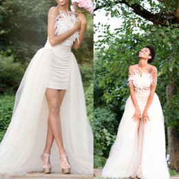 Cheap detachable train feather wedding dress - Feather Wedding Dresses A-line 2016 Real Image Sweetheart Short With Long Tulle Detachable Train Bridal Gowns Custom Made China EN70111