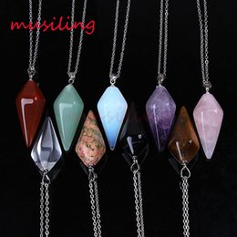Wholesale Mens Black Link Chain - Necklace Pendants Pyramid Pendant Gem Stone Pendulum Necklace Jewelry For Women Necklace Chain Charms Amulet Women Mens Jewelry