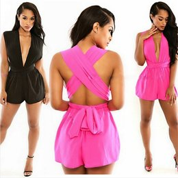 Wholesale Chiffon Short Cute Jumpsuits - Sexy deep v hollow out women rompers sleeveless hot shorts bodysuits casual fashion playsuit womens cute slim jumpsuits