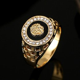 Wholesale popular stones - The classic popular Gold plated or platinum plated lion head men's ring luxury Rhinestone Ring