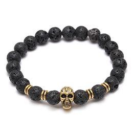 Wholesale Black Lava Rock Wholesaler - Lava Natural Stone Elastic Skull Beads Charms Bracelets Volcanic Rock Charm Bracelets Prayer Beads Bracelet Handmade Diffuser Jewelry