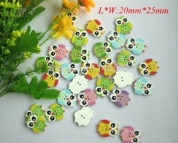 Wholesale Wooden Shapes For Painting - New product 100pcs lot botoes Wooden buttons Painting Cartoon Owl Shape Buttons 20mm*25mm sewing accessories For Scrapbook M66214
