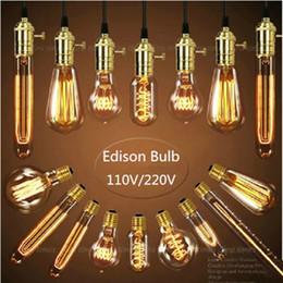 Wholesale Decorative Tube Bulb - Vintage Edison bulb E27 220V Incandescent light bulb A19 ST64 G80 G95 T45 T10 40W decorative lighting filament bulb Edison tubes