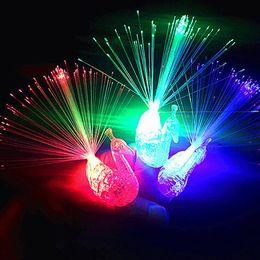 Wholesale Lamp Optical Fiber - 3000Pcs Creative Peacock LED Finger Ring Lights Beams Party Nightclub Color Rings Optical Fiber Lamp Kids Children Halloween Gifts