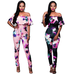 Wholesale Womens Black One Piece Bodysuit - Trendy Womens Strapless Jumpsuit Pants Flower Playsuit Rompers Off Shoulder Skinny Bodysuit Women Party One Piece Romper Lady