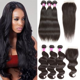 Wholesale Black Wavy Human Hair - Unprocessed Virgin Brazilian Human Hair Bundle Lace Closure Straight Body Wave Wet and Wavy Hair 3 Bundles and 4x4 Top Lace Weaves Closure