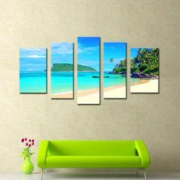 Wholesale Island Decoration - 5 Picture Combination Wall Art The Picture For Home Decoration Trunk Bay St John Virgin Islands United States Seascape Beach Canvas