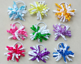 "Wholesale Ponytail Streamers - drop shipping 20pcs 3.5"" korker ponytail holders streamer corker hair bows clip Cheer Bows Curly Ribbon Bow hair bobbles"