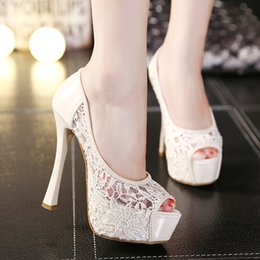 Wholesale Sexy Gril - Women Sexy Hollow Lace Lady Black Bridal wedding shoes gril Fish head Mouth High-Heeled shoes