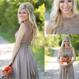 Wholesale Tan Dress Black Lace - 2016 Tan New Country Style Bridesmaid Dresses Jewel Sheer A Line Knee Length Summer Beach Mini Cocktail Short Maid Of Honor Party Gowns