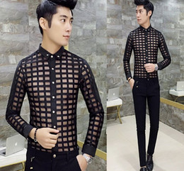 Wholesale Sexy Black Long Sleeved Shirt - Wholesale- 2017 New Recommended tide Men's Clothing sexy Gauze slim long sleeved shirt Male Metrosexual translucent Casual Tops Black,White