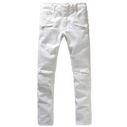 Wholesale Denim Pants Large - Wholesale-Men's fashion white sim straight biker jeans Male casual large size stretch denim pants Long trousers