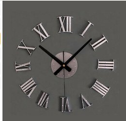 Wholesale vintage ship decor - Vintage wood texture 3D Roman numeral clock,home decoration wall watch,wood sticker home decor free shipping