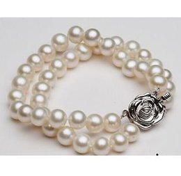 Wholesale South Sea Pearls Rings - double strands 9-10mm round south sea white pearl bracelet 7.5-8inch 925 silver