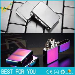 Wholesale Cigarette Lighters For Men - classic Windproof Metal Cigarette lighter Smoking Fuel Lighters as gift for men women