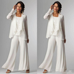 2018 Elegant White Chiffon Mother Of Bride Pant Suit For Wedding Long Sleeves Plus Size Formal Wear Evening Occasion Gown Custom Made