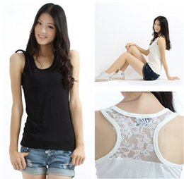 Wholesale Plus Size Cami Lace - Wholesale-Plus Size 3XL 6XL 2015 New Real Photo Women Blusas lace back Sleeveless Chiffon Tank Top Shirts Crew Vest Cami BTL003