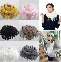 Wholesale Knit Fringe Snood Scarf - Womens Winter Warm Knitted Layered Fringe Tassel Neck Circle Shawl Snood Scarf Cowl Girl Solid Long Soft Infinity Scarves Wraps KKA2864