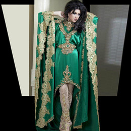 Wholesale Cheap Dresses India - Hot Sale New 2016 Green Appliqued Kaftan India Fashion Arabic Cheap Celebrity Evening Dresses A-Line Evening Gowns Free Shipping