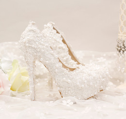 Wholesale Cheap Wedding Stilettos - The new pure white lace short with lace wedding shoes comfortable shoes dress shoes wedding 14 mm Heel height cheap