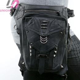 Wholesale Rock Punk Style Bags - High Quality Retro Punk Style Unisex Women Men Shoulder Bag Rock Gothic Waist Bag Black Leather Leg Bag Metal Bag Waist Packs