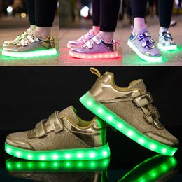 luz fluorescente plana Rebajas Nuevo LED Light Shoes Sneakers Entrenadores Niños Niños Colorful Fluorescent Shoes Flat Running Shoe Niños Niñas USB Carga Casual Shoes WX-C09