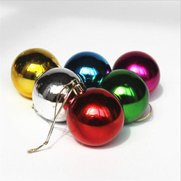 Wholesale Red Plastic Ornaments Balls - New Arrivals 6 Pcs Set Glitter Chic Christmas Tree Ball Baubles Xmas Party Wedding Hanging Ornament Christmas Decoration