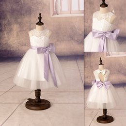 Wholesale Tea Length Open Back Wedding - Flower Girls Dresses 2016 Lace Sheer Crew Neck Open Back Kids Prom Gowns Cute Tea Length Tulle Girls Birthday Dress With Lavender Sash Bow