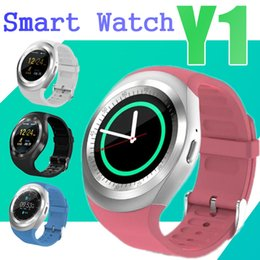Wholesale Screen For Gps - Luxury Smart Watch for IOS Android Samsung Apple iPhone Round Touth Screen Y1 Smartwatch Wrisbrand with SIM Card Slot