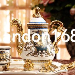Wholesale Teapot Set Tray - European Palace Coffee sets Ceramic tray teapot teacup 8 Pieces Porcelain Tea set
