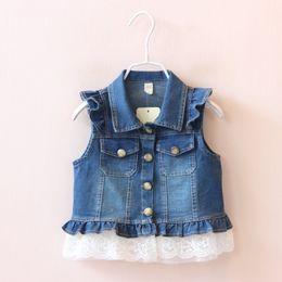 Wholesale Wholesale Denim Jackets Vests - Newest 2016 Autumn Fashion Girls Jacket Kids Vests Waistcoats Lace Denim Vest Coat Cowboy Coats For Gils Outwear Blue K7527