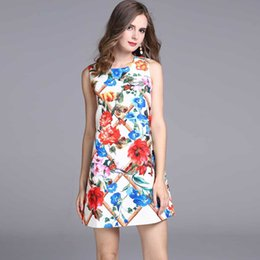 Wholesale Fence S - 2017 Runway dress new women's flowers around the fence printed round neck sleeveless A word zipper skirt dress
