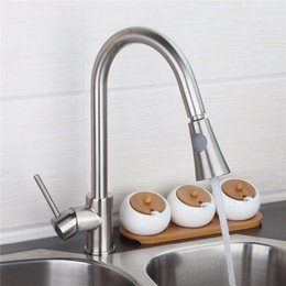 Wholesale Sink Spray Taps - Wholesale- Brushed Nickel Kitchen sink Faucet Pull Out Swivel Spray Mixer Tap 360 Degree Swivel Kitchen Faucet