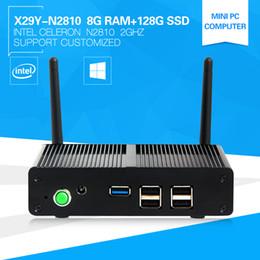 Wholesale Cheapest Dual Core Computer - Wholesale-The Newest Cheapest Mini Computer X86 32bit Pocket PC X-29Y N2810 Celeron Dual Core Windows 7 HDMI +Vga 8G Ram 128G SSD