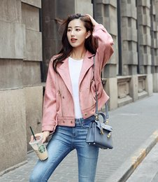 Wholesale Girl Elegant Coats - New Spring Autumn Women Fashion Loose BF Style Jacket Coats Ladies's Elegant Lapel Short Jackets Girls Lovely Pink Long Sleeve Coats