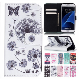 Wholesale Wallet Phone S4 - For Samsung Galaxy S7 Edge S6 S5 S4 S3 Note 5 Wallet Leather TPU Phone Case Flower Cartoon Letter Patchwork Cover Card Slot