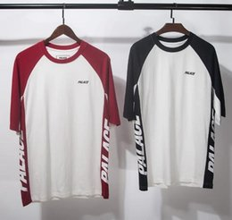 Wholesale Summer Tops Usa - Palace T-shirts Men Women High Quality Brand Summer Style Red and Blue Palace Skateboards T Shirt Top Tees Palace T-shirts USA Size